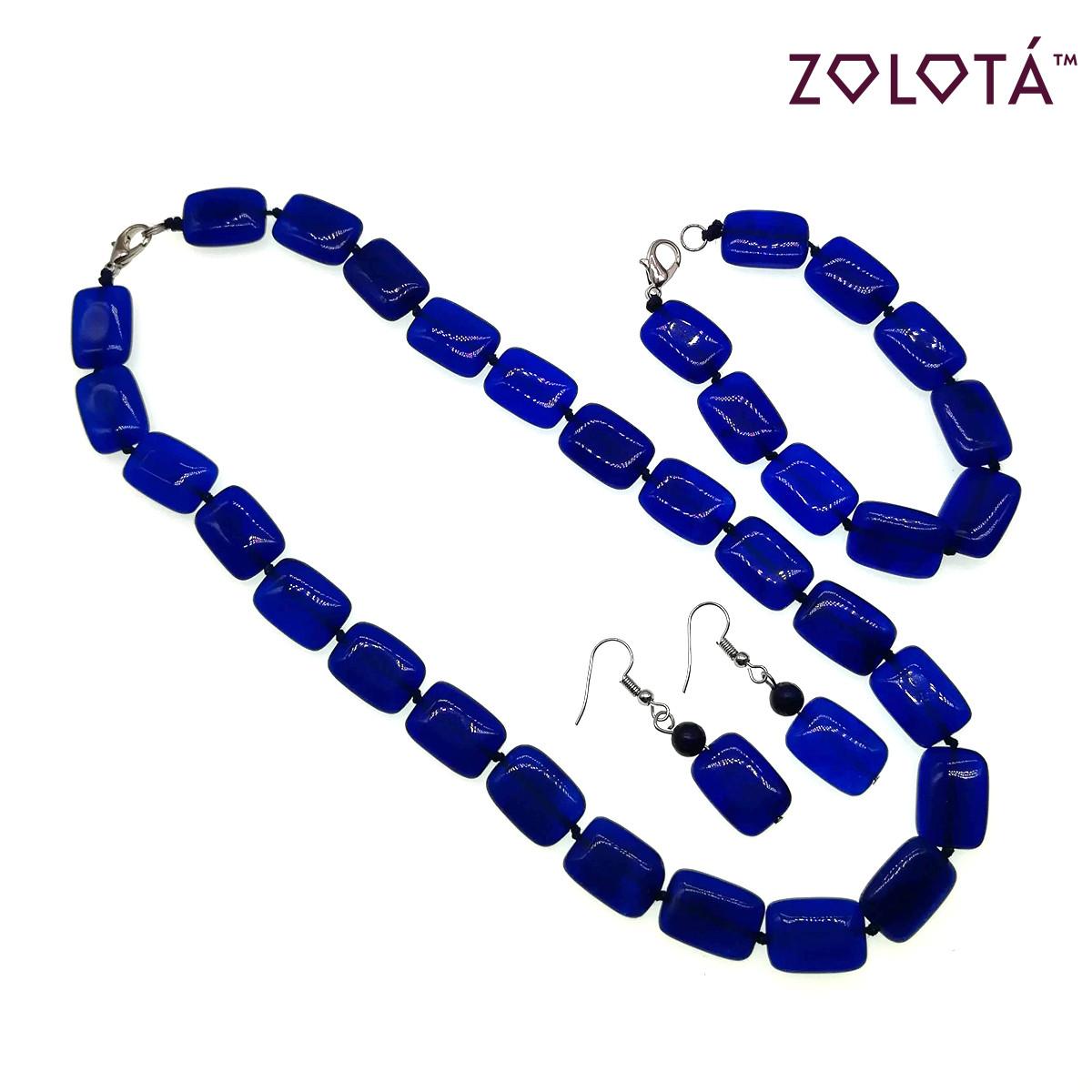 Набор (бусы + браслет + серьги) из натурального синего бразильского агата, НБ00368 (1)