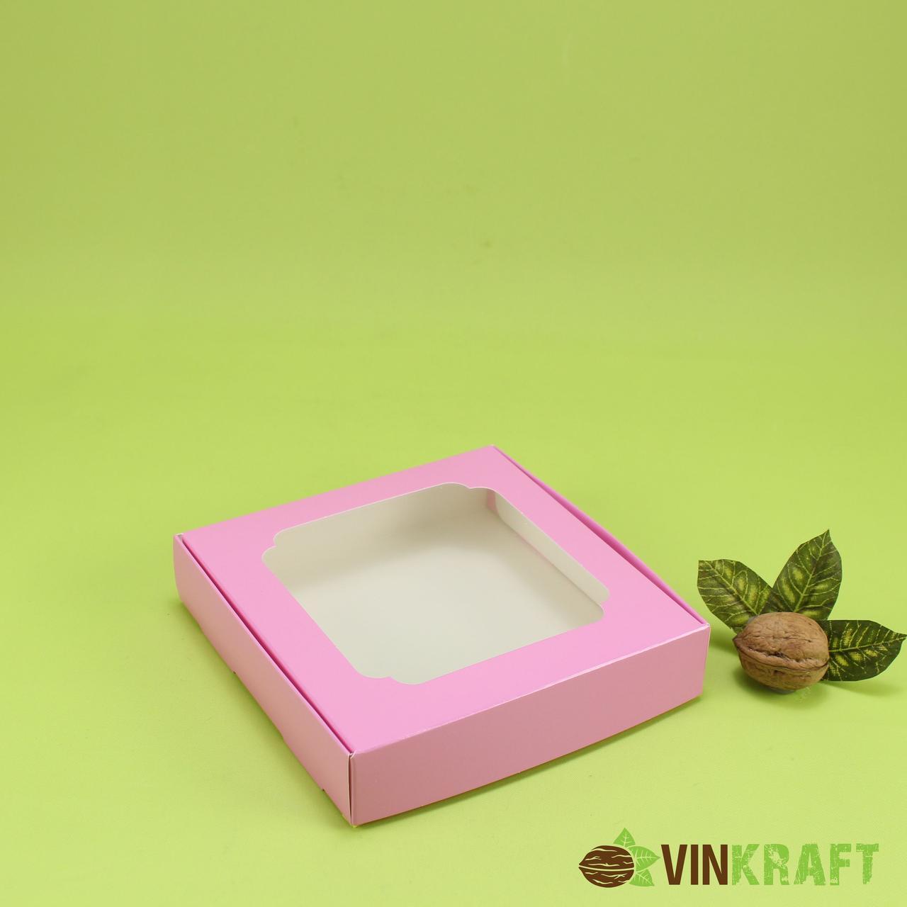 Коробка 150*150*30 для пряника, темно-рожева