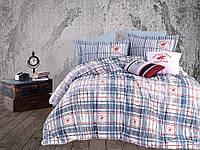 Постельное белье Beverly Hills Polo Club BHPC ранфорс 014 Blue Двуспальный евро комплект
