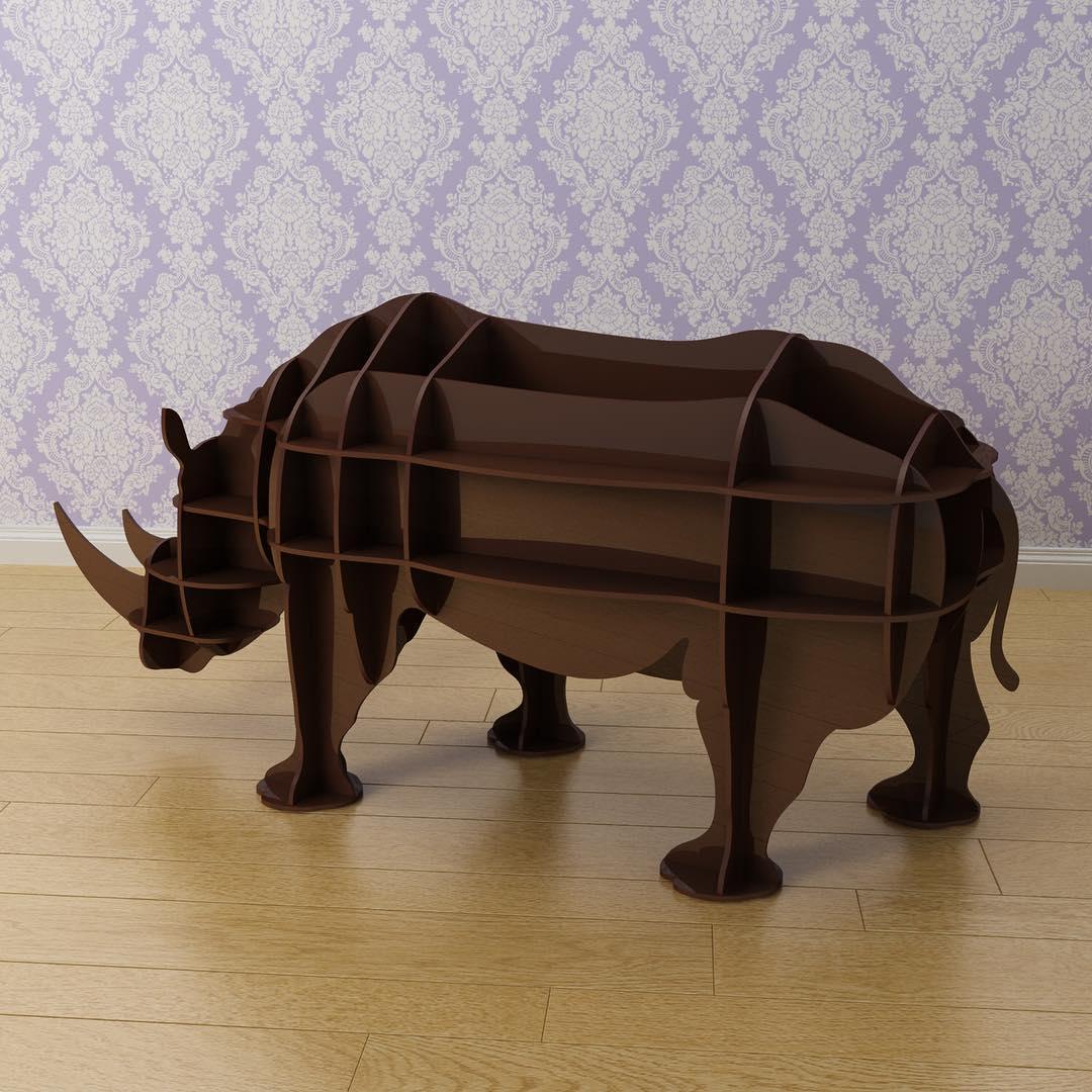 Мебель из натуральных материалов носорог. Полка 3D (черный)