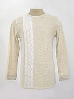Светлая мужская вышиванка Белая полоска | Світла чоловіча вишиванка Біла смужка