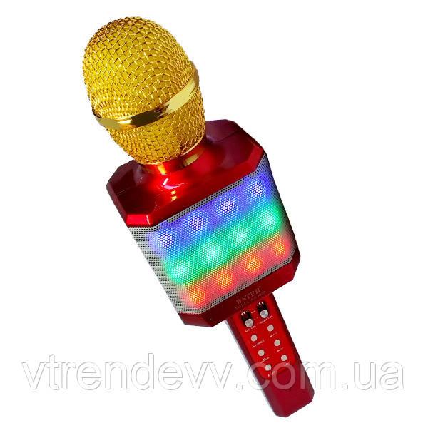 Микрофон-караоке беспроводной WSTER WS-1828 5W LED Original красный