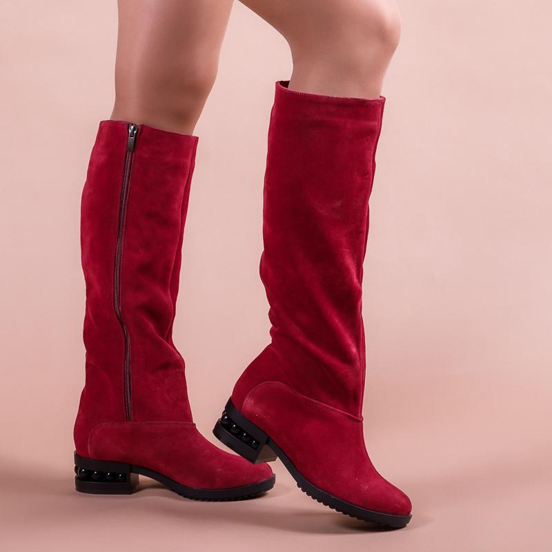 Сапоги женские замшевые красные на маленьком каблуке. Цвет кожи/замши на выбор.
