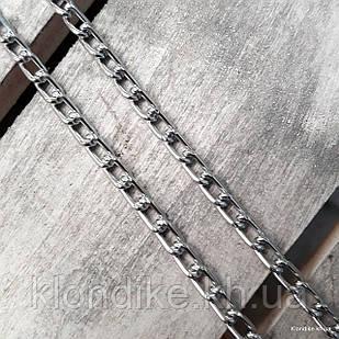 Цепь алюминиевая, 7х4 мм, Цвет: Серебро (1 метр)