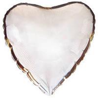 Фольгированный шар Ультра Сердце 30см х 76см Серебристый