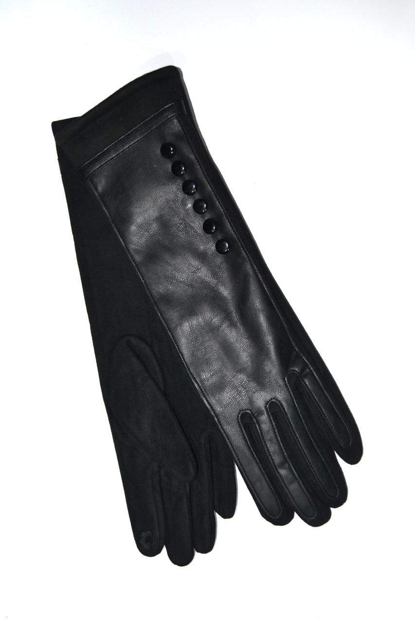 Женские перчатки кожа/трикотаж/флис 30см оптом