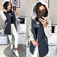 Стильная куртка с трикотажным рукавом, арт 786/2, цвет серый графит