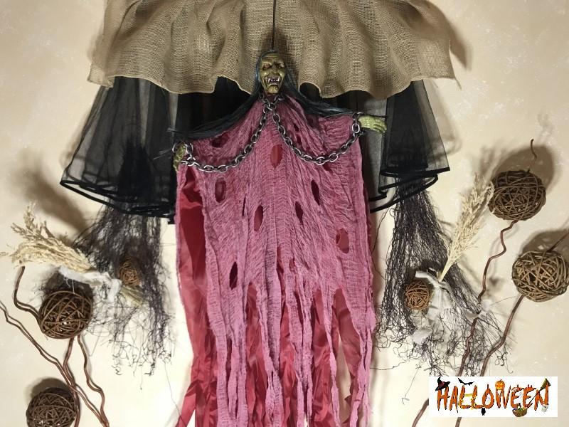 """Декор """"Баба Яга с цепями в розовом с криком и движущимися руками"""""""
