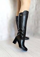 Демисезонные кожаные сапоги на каблуке, фото 1