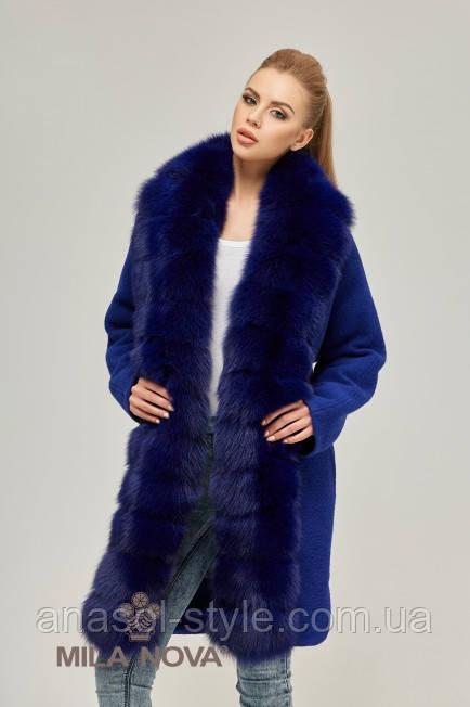 Пальто жіноче утеплене суцільнокроєна хутро песця синє