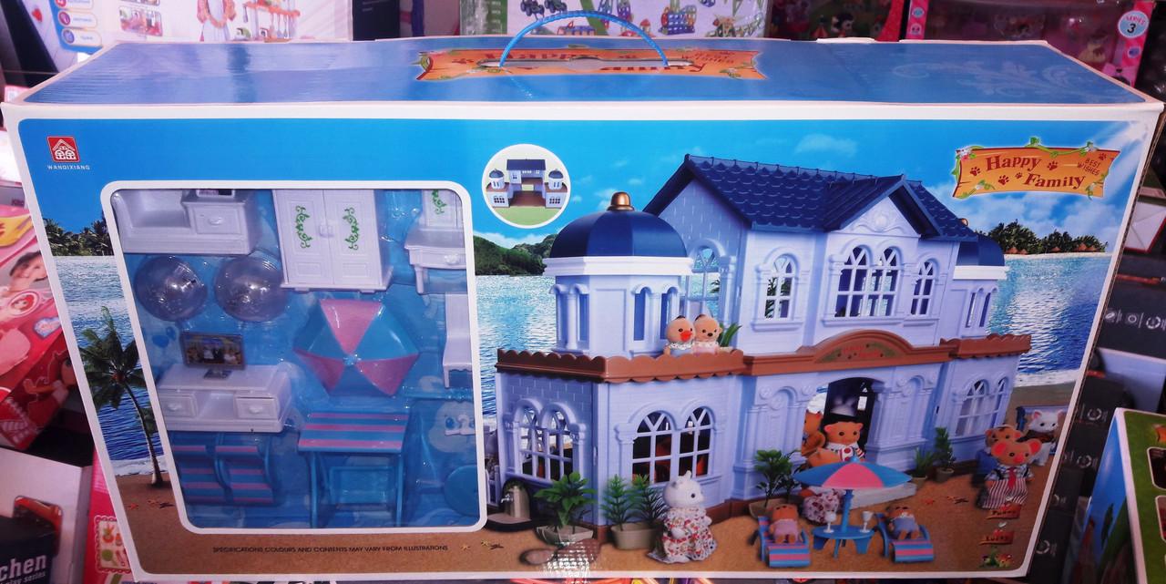 Игровой домик Вилла Happy Family 012 11 аналог Sylvanian Families , флоксовые животные, мебель