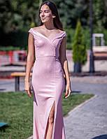 Светлое блестящее длинное платье с разрезом и открытыми плечами (S/M, M/L, L/XL)