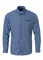 Рубашка синего цвета с небольшим принтом от Pierre Cardin серия Cotton Comfort