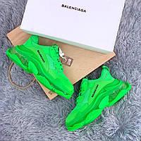 Женские кроссовки Balenciaga Triple S Clear Sole Green (Реплика ААА+)