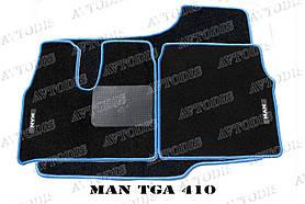 MAN TGA ворсовые коврики (узкая кабина)(чёрный-синий) ЛЮКС