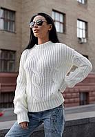 Белый вязаный женский свитер крупной вязки Турция шерсть 30%