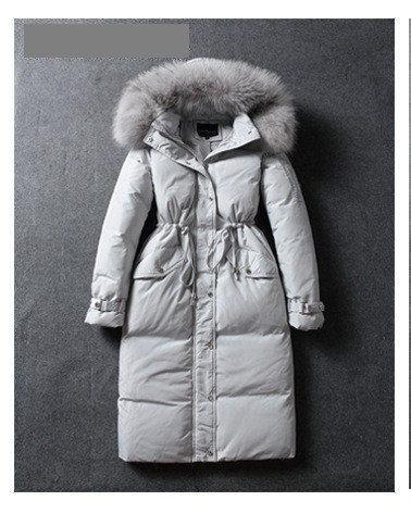 Распродажа! Пальто-пуховик женский зимний белый утиный пух натуральный мех енота