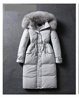 Распродажа! Пальто-пуховик женский зимний белый утиный пух натуральный мех енота, фото 1
