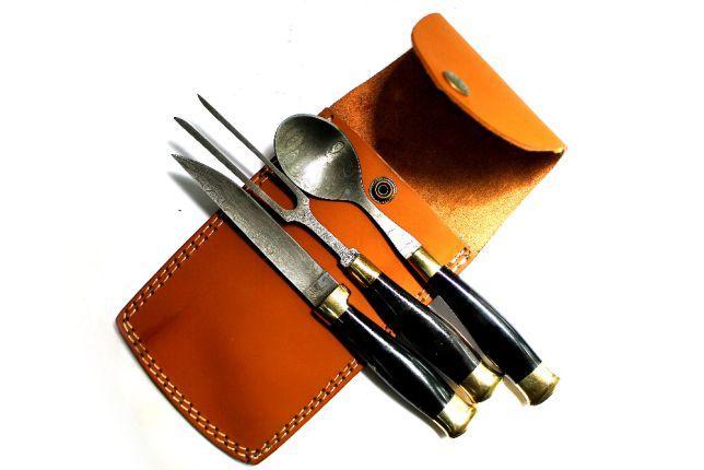 Набор ложка вилка нож. Дамаск  +чехол