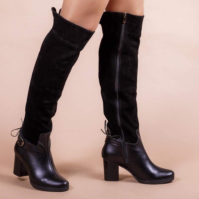 Замшевые черные женские высокие сапоги. Натуральная кожа и замша. Зима, деми. Пошив на любую голень.