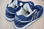 Зимние женские кроссовки New Balance 574 Winter с мехом синие с белым 36-41рр. Живое фото (Реплика ААА+), фото 2