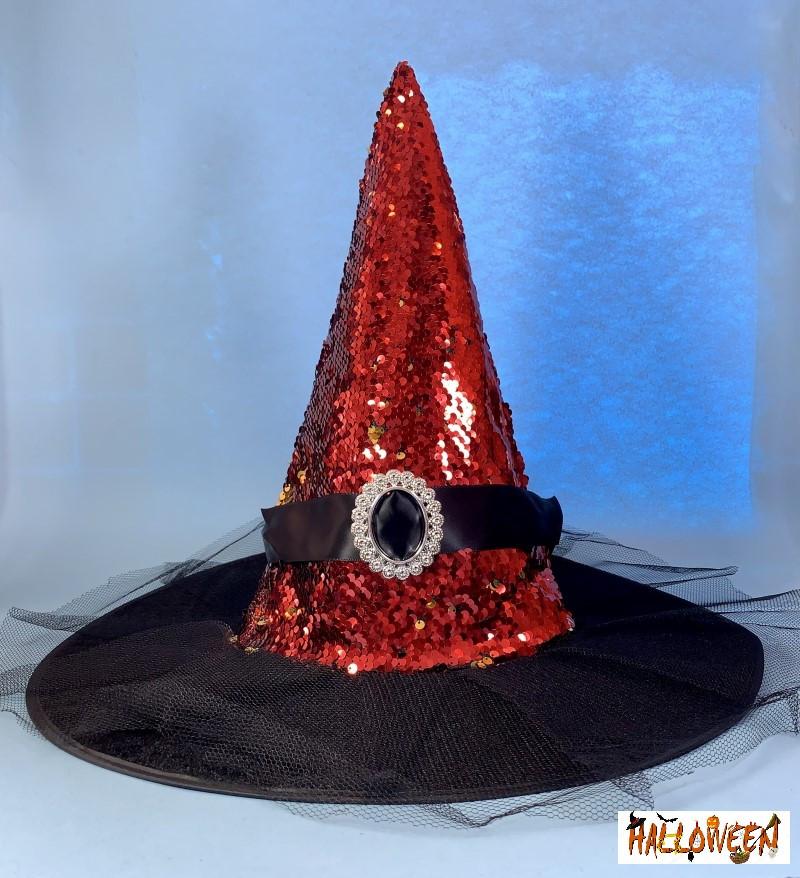 Колпак ведьмы с брошью красный