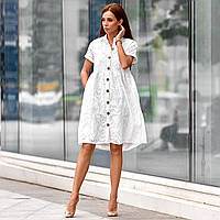 Платье из прошвы на пуговицах 3055-0