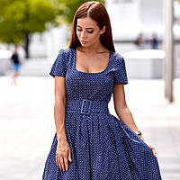 Платье с широким поясом в горошек 11314