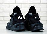 Мужские кроссовки Adidas Y-3 Kaiwa в стиле Адидас Кайва ЧЕРНЫЕ (Реплика ААА+), фото 3