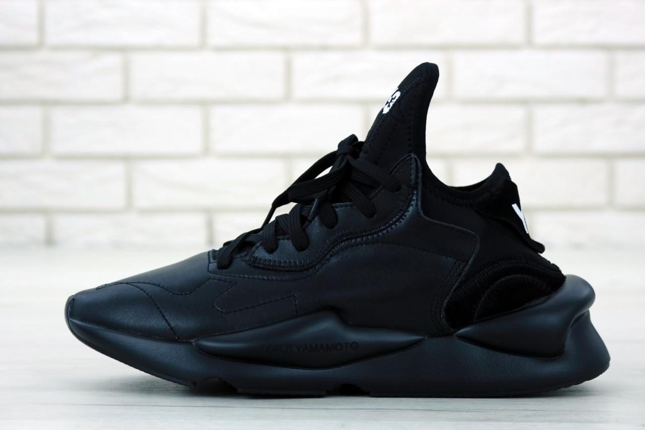Мужские кроссовки Adidas Y-3 Kaiwa в стиле Адидас Кайва ЧЕРНЫЕ (Реплика ААА+)