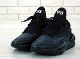 Мужские кроссовки Adidas Y-3 Kaiwa в стиле Адидас Кайва ЧЕРНЫЕ (Реплика ААА+), фото 4
