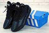 Мужские кроссовки Adidas Y-3 Kaiwa в стиле Адидас Кайва ЧЕРНЫЕ (Реплика ААА+), фото 2