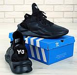 Мужские кроссовки Adidas Y-3 Kaiwa в стиле Адидас Кайва ЧЕРНЫЕ (Реплика ААА+), фото 6