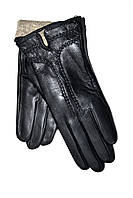 Кожаные женские перчатки на шерсти(сетка) оптом