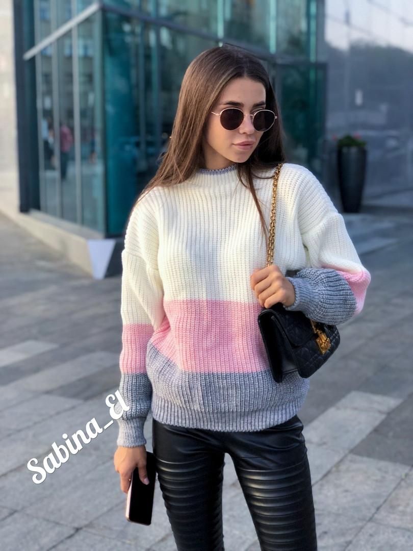 Крутой теплый вязаный свитер в полоску из шерсти