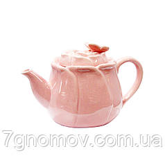 Чайник порцеляновий рожевий для ХОРЕКА Троянда 600 мл