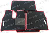 MAN TGX МКПП ворсовые коврики (чёрный-красный) ЛЮКС