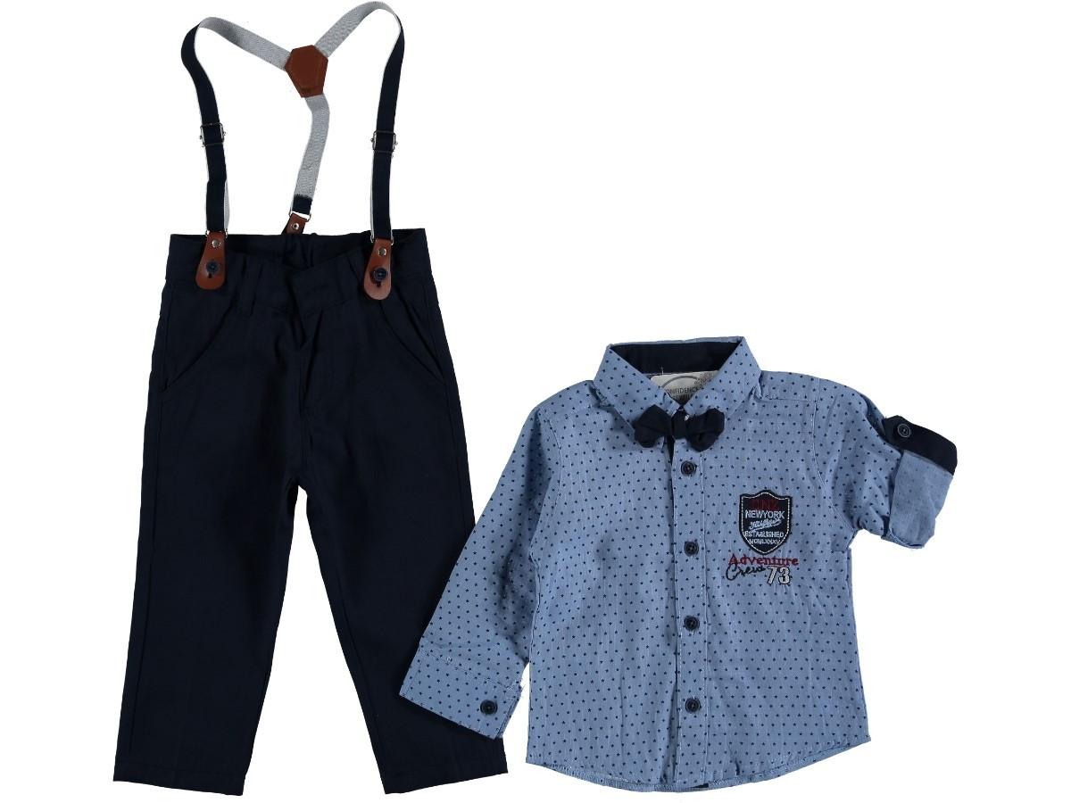 """Нарядный костюм с подтяжками и бабочкой """"Джон"""" (голубой) 1-4 года"""