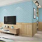 Самоклеющиеся обои Декоративная 3D панель ПВХ 1шт, голубой кирпич (бирюза), фото 6