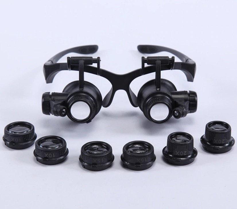Бинокулярные очки (бинокуляры) с LED-подсветкой и сменными увеличительными стеклами 10Х 15X 20X 25X, MG-9892GJ