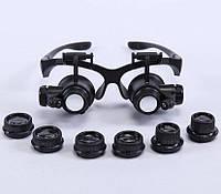 Бинокулярные очки (бинокуляры) с LED-подсветкой и сменными увеличительными стеклами 10Х 15X 20X 25X, MG-9892GJ, фото 1