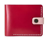 Кожаный женский кошелек Compact красный-розовый