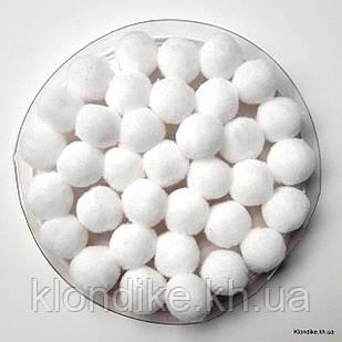 """Помпоны """"Велюр"""", 1.5 см, Цвет: Белый (50 шт.)"""