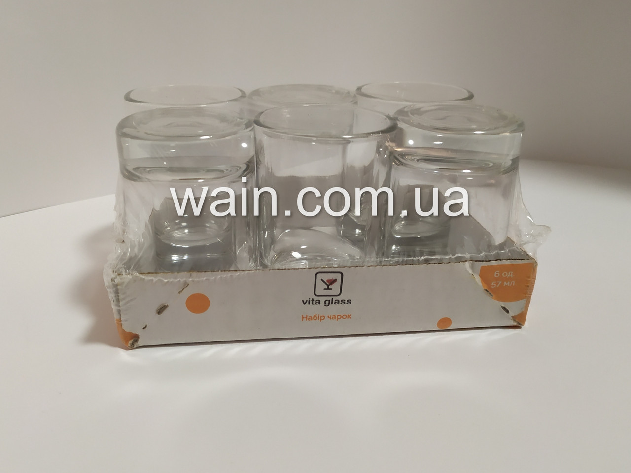 Набор стопок, рюмок стеклянных 57 мл 6 шт для водки, шотов Vita Glass