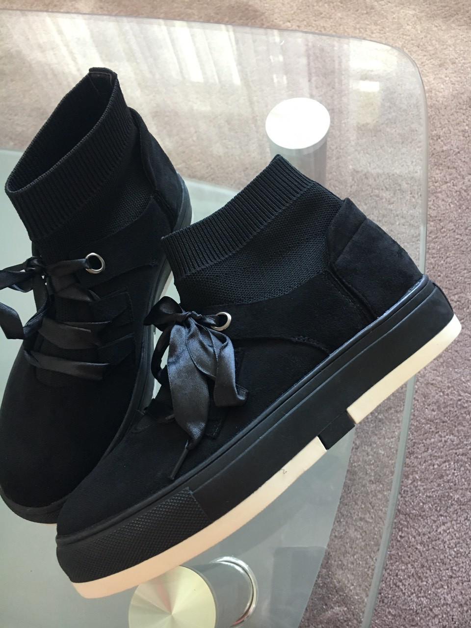Женские хайтопы кроссовки с носком черные замшевые 37-40
