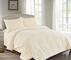 Комплект постельного белья Love You Пике + сатин + кружево крем КПБ евро
