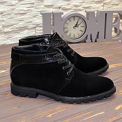 Черевики чоловічі замшеві на шнурках, колір чорний