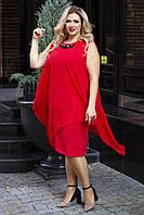 Женское нарядное платье со съемной шифоновой накидкой Размер 56 58 60 В наличии 6 цветов, фото 1