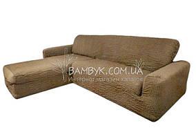 Чехол на угловой диван с выступом (оттоманкой) правым Concordia (жатка-креш) бежевый