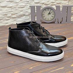Черевики чоловічі шкіряні на шнурівці, колір чорний